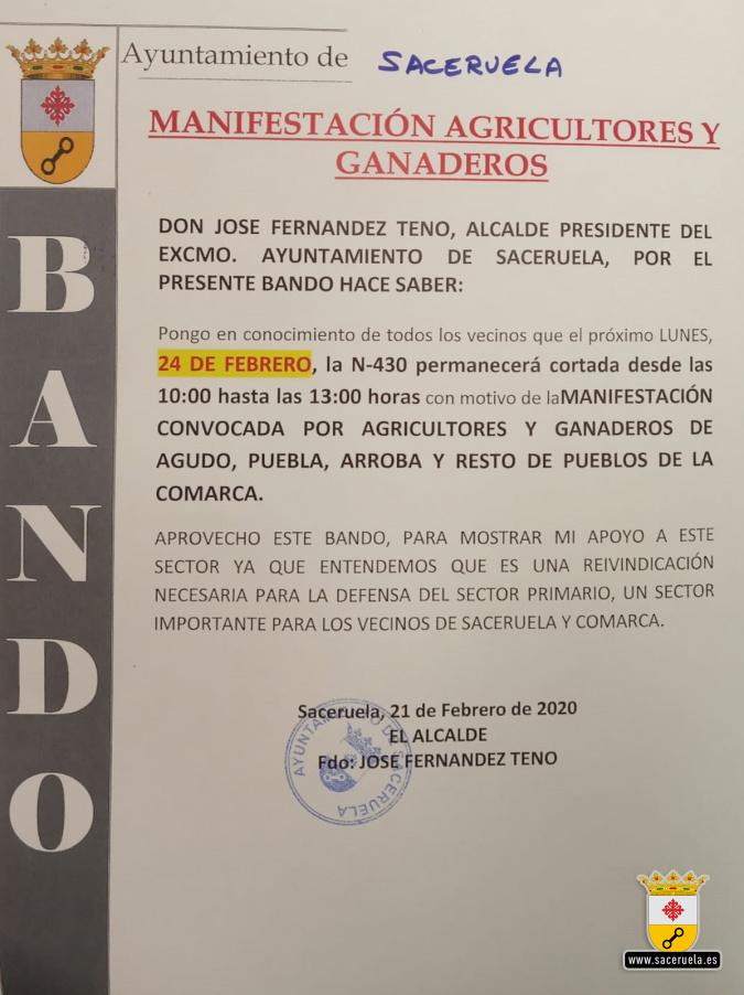 Bando municipal: Manifestación agricultores y ganaderos